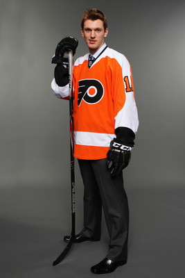 ST PAUL, MN - JUNE 24:  Eighth overall pick Sean Couturier by the Philadelphia Flyers poses poses for a portrait during day one of the 2011 NHL Entry Draft at Xcel Energy Center on June 24, 2011 in St Paul, Minnesota.  (Photo by Nick Laham/Getty Images)