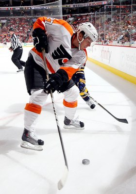 PHILADELPHIA - OCTOBER 01:  Erik Gustafsson #27 of the Philadelphia Flyers skates against the Buffalo Sabres on October 1, 2010 at Wells Fargo Center in Philadelphia, Pennsylvania.  (Photo by Jim McIsaac/Getty Images)