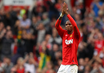 MANCHESTER, ENGLAND - AUGUST 28:  Ashley Young of Manchester United celebrates after the Barclays Premier League match between Manchester United and Arsenal at Old Trafford on August 28, 2011 in Manchester, England.  (Photo by Alex Livesey/Getty Images)