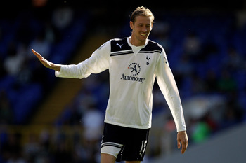 LONDON, ENGLAND - APRIL 09: Peter Crouch of Spurs gestures during the Barclays Premier League match between Tottenham Hotspur and Stoke City at White Hart Lane on April 9, 2011 in London, England.  (Photo by Ian Walton/Getty Images)
