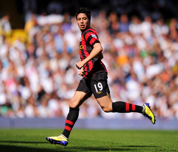 LONDON, ENGLAND - AUGUST 28:  Sami Nasri of Manchester City in action during the Barclays Premier League match between Tottenham Hotspur and Manchester City at White Hart Lane on August 28, 2011 in London, England.  (Photo by Michael Regan/Getty Images)