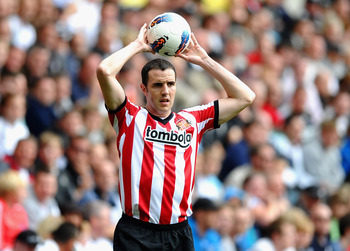 SWANSEA, WALES - AUGUST 27:  John O'Shea of Sunderland in action during the Barclays Premier League match between Swansea City and Sunderland at Liberty Stadium on August 27, 2011 in Swansea, Wales.  (Photo by Laurence Griffiths/Getty Images)