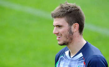 FLORENCE, ITALY - MARCH 27:  Davide Santon of Italy during a training session at Coverciano on March 27, 2011 in Florence, Italy.  (Photo by Claudio Villa/Getty Images)