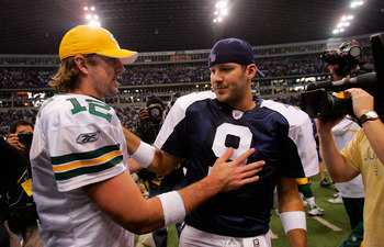 Dallas' Tony Romo will get the better of Green Bay's Aaron Rodgers this year.