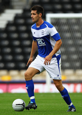 DERBY, ENGLAND - JULY 31:  Scott Dann of Birmingham City in action during the Pre-Season Friendly match between Derby County and Birmingham City at the County Ground on July 31, 2010 in Derby, England.  (Photo by Matthew Lewis/Getty Images)