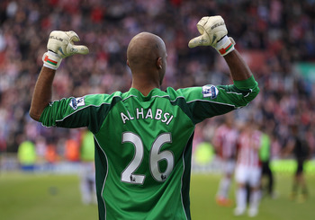STOKE ON TRENT, ENGLAND - MAY 22:  Ali Al Habsi of Wigan celebrates staying up during the Barclays Premier League match between Stoke City and Wigan Athletic at Britannia Stadium on May 22, 2011 in Stoke on Trent, England.  (Photo by Richard Heathcote/Get