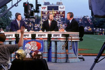 Chris Fowler, Lee Corso and Kirk Herbstreit comprise the ESPN Gameday crew, who will be at the LSU-Oregon game in Arlington, Texas.