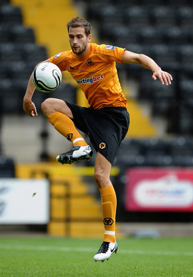 NOTTINGHAM, ENGLAND - JULY 23: Roger Johnson of Wolves in action during the Pre Season Friendly between Notts County and Wolverhampton Wanderers at Meadow Lane on July 23, 2011 in Nottingham, England.  (Photo by Laurence Griffiths/Getty Images)