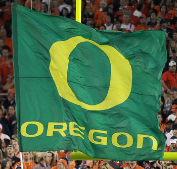 GLENDALE, AZ - JANUARY 10:  An Oregon Ducks flag is displayed at the Tostitos BCS National Championship Game against the Auburn Tigers at University of Phoenix Stadium on January 10, 2011 in Glendale, Arizona.  (Photo by Jonathan Ferrey/Getty Images)
