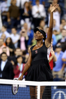NEW YORK, NY - AUGUST 29:  Venus Williams of the United States celebrates match point against Vesna Dolonts of Russia during Day One of the 2011 US Open at the USTA Billie Jean King National Tennis Center on August 29, 2011 in the Flushing neighborhood of