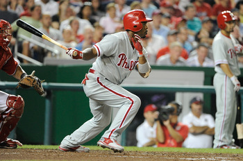 WASHINGTON, DC - AUGUST 20:  Jimmy Rollins #11 of the Philadelphia Phillies hits a single in the sixth inning against the Washington Nationals at Nationals Park on August 20, 2011 in Washington, DC. Philadelphia won the game 5-0. (Photo by Greg Fiume/Gett