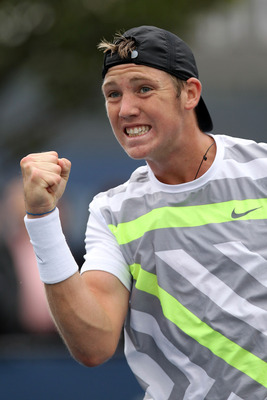 NEW YORK - SEPTEMBER 12:  Jack Sock of the United States reacts while playing against Denis Kudla of the United States during his junior boys' singles final match on day fourteen of the 2010 U.S. Open at the USTA Billie Jean King National Tennis Center on