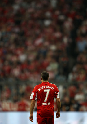 MUNICH, GERMANY - AUGUST 20: Franck Ribery of Bayern looks on during the Bundesliga match between FC Bayern Muenchen and VfL Wolfsburg at Allianz Arena on August 20, 2010 in Munich, Germany.  (Photo by Clive Brunskill/Getty Images)