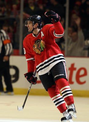 CHICAGO - OCTOBER 01: Patrick Sharp #10 of the Chicago Blackhawks celebrates a 2nd period goal against the Pittsburgh Penguins during a pre-season game at the United Center on October 1, 2010 in Chicago, Illinois. (Photo by Jonathan Daniel/Getty Images)