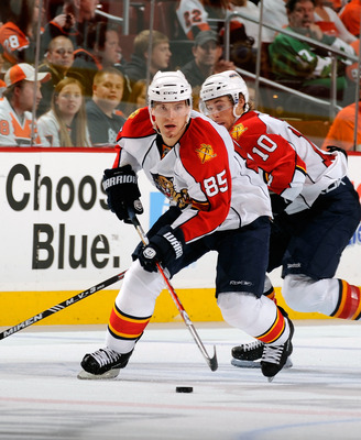 PHILADELPHIA - NOVEMBER 13:  Rostislav Olesz #85 of the Florida Panthers skates with the puck in a game against the Philadelphia Flyers on November 13, 2010 in Philadelphia, Pennsylvania.  (Photo by Lou Capozzola/Getty Images)