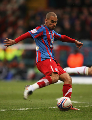 LONDON, ENGLAND - FEBRUARY 5: James Vaughan of Crystal Palace shoots and scores Crystal Palace's first goal during the npower Championship match between Crystal Palace and Norwich City at Selhurst Park on February 5, 2011 in London, England. (Photo by Mar