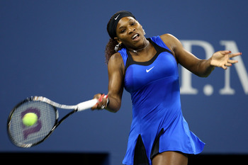 Serena hits a shot in her first round demolition