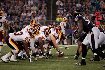 BALTIMORE, MD - AUGUST 25: The Washington Redskins offense lines up against the Baltimore Ravens defense during a preseason game at M&T Bank Stadium on August 25, 2011 in Baltimore, Maryland.  (Photo by Rob Carr/Getty Images)