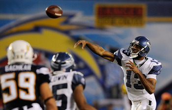SAN DIEGO, CA - AUGUST 11:  Quarterback Josh Portis #13 of the Seattle Seahawks throws a pass against the San Diego Chargers during the NFL preseason game at Qualcomm Stadium against the San Diego Chargers on August 11, 2011 in San Diego, California.  (Ph
