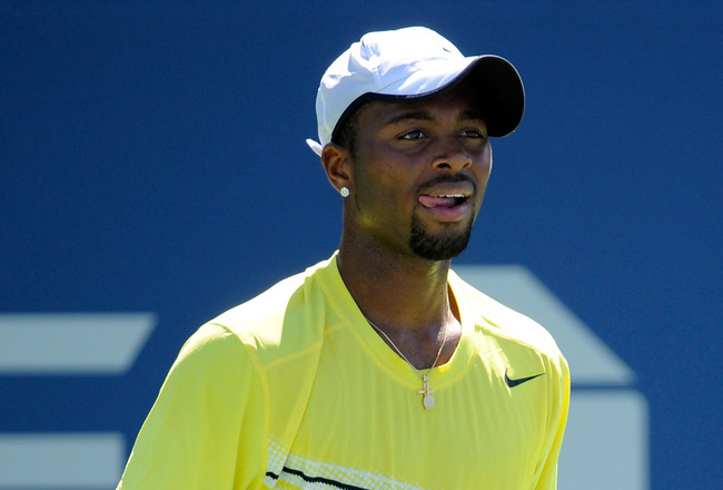 NEW YORK, NY - AUGUST 30:  Donald Young of the United States plays against Lukas Lacko of Slovakia during Day Two of the 2011 US Open at the USTA Billie Jean King National Tennis Center on August 30, 2011 in the Flushing neighborhood of the Queens borough