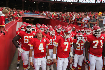 KANSAS CITY, MO - AUGUST 26: The Kansas City Chiefs take the field against the St. Louis Rams during a pre-season game at Arrowhead Stadium  on August 26, 2010 in Kansas City, Missouri.  The Rams defeated the Chiefs, 14-10. (Photo by Dilip Vishwanat/Getty