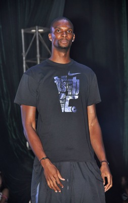 SHANGHAI, CHINA - AUGUST 21: (CHINA OUT) American professional basketball player Chris Bosh of the Miami Heat attends NIKE Promotional Event on August 21, 2011 in Shanghai, China.  (Photo by ChinaFotoPress/Getty Images)