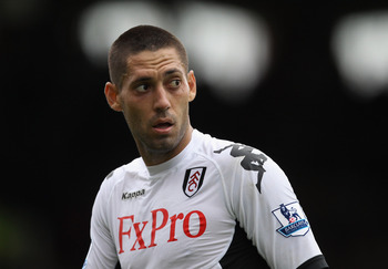 LONDON, ENGLAND - AUGUST 13:  Clint Dempsey of Fulham looks on during the Barclays Premier League match between Fulham and Aston Villa at Craven Cottage on August 13, 2011 in London, England.  (Photo by Ian Walton/Getty Images)