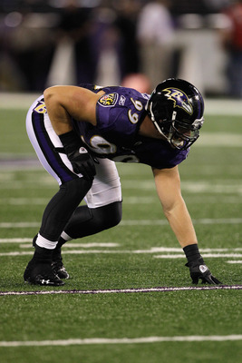 BALTIMORE, MD - AUGUST 25: Paul Kruger #99 of the Baltimore Ravens lines up against the Washington Redskins offense during the second half of a preseason game at M&T Bank Stadium on August 25, 2011 in Baltimore, Maryland. The Ravens defeated the Redskins