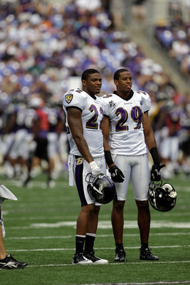 BALTIMORE, MD - AUGUST 06:  Jimmy Smith #22 of the Baltimore Ravens and Cary Williams #29 talk during training camp at M&T Bank Stadium on August 6, 2011 in Baltimore, Maryland.  (Photo by Rob Carr/Getty Images)