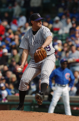 CHICAGO - MAY 7:  Turk Wendell #99 of the Colorado Rockies on the mound during the game against the Chicago Cubs on May 7, 2004 at Wrigley Field in Chicago, Illinois. The Cubs defeated the Rockies 11-0. (Photo by Jonathan Daniel/Getty Images)