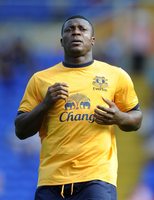 BIRMINGHAM, ENGLAND - JULY 30: Yakubu of Everton looks on during the pre season friendly between Birmingham City and Everton at St Andrews (stadium) on July 30, 2011 in Birmingham, England.  (Photo by Chris Brunskill/Getty Images)