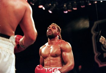 7 Aug 1999:   Shannon Briggs looks at Francois Botha during the fight at the Trump Taj Mahal in Atlantic City, New Jersey. Mandatory Credit: David Leeds  /Allsport