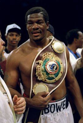 17 Jun 1995: Riddick Bowe displays the championship belt after a bout with Jorge Luis Gonzalez. Bowe won the fight with a knockout in the sixth round.