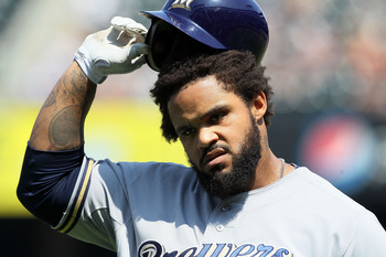 NEW YORK, NY - AUGUST 21:  Prince Fielder #28 of the Milwaukee Brewers reacts after his out in the fourth inning against New York Mets at Citi Field on August 21, 2011 in the Flushing neighborhood of the Queens borough of New York City.  (Photo by Jim McI