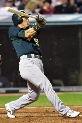 CLEVELAND, OH - AUGUST 31: Hideki Matsui #55 of the Oakland Athletics misses for a strike during the seventh inning against the Cleveland Indians at Progressive Field on August 31, 2011 in Cleveland, Ohio. (Photo by Jason Miller/Getty Images)