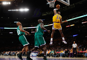 LOS ANGELES, CA - DECEMBER 30:   Kobe Bryant #24 of the Los Angeles Lakers puts a shot up against the Boston Celtics at Staples Center on December 30, 2007 in Los Angeles, California.  NOTE TO USER: User expressly acknowledges and agrees that, by download