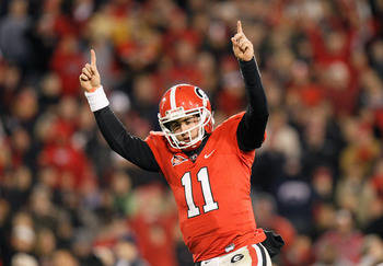 ATHENS, GA - NOVEMBER 27:  Quarterback Aaron Murray #11 of the Georgia Bulldogs reacts after scoring a touchdown against the Georgia Tech Yellow Jackets at Sanford Stadium on November 27, 2010 in Athens, Georgia.  (Photo by Kevin C. Cox/Getty Images)