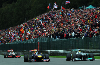 Mercedes' Nico Rosberg took a flying start in Spa and led for a couple of laps.