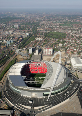 LONDON - APRIL 20:  An Aerial view of the new Wembley Stadium on April 20, 2007 in Wembley, north-west London, England. The stadium has a capacity of 90,000 and will host next month's FA Cup final football match between Chelsea and Manchester United.  (Ph