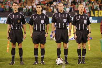 SAN FRANCISCO - FEBRUARY 24:  The officials stand together before a friendly match between Mexico and Bolivia in preparation for the 2010 FIFA World Cup on February 24, 2010 at Candlestick Park in San Francisco, California.  Mexico won 5-0.  (Photo by Bri