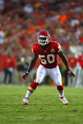 KANSAS CITY, MO - AUGUST 26: Justin Houston #50 of the Kansas City Chiefs defends against the St. Louis Rams during a pre-season game at Arrowhead Stadium  on August 26, 2010 in Kansas City, Missouri.  The Rams defeated the Chiefs, 14-10. (Photo by Dilip