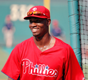 PHILADELPHIA, PA - JULY 29:  Domonic Brown #9 of the Philadelphia Phillies smiles during batting practice prior to his game against Pittsburgh Pirates at Citizens Bank Park on July 29, 2011 in Philadelphia, Pennsylvania.  (Photo by Len Redkoles/Getty Imag