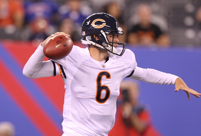 EAST RUTHERFORD, NJ - AUGUST 22:  Jay Cutler #6 of the Chicago Bears looks to pass against the New York Giants during their pre season game on August 22, 2011 at The New Meadowlands Stadium in East Rutherford, New Jersey.  (Photo by Al Bello/Getty Images)