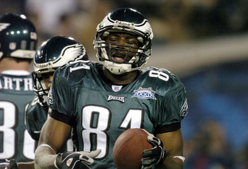 Eagles # 81 WR Terrell Owens on the field during Super Bowl XXXIX between the Philadelphia Eagles and the New England Patriots at Alltel Stadium in Jacksonville, Florida on February 6, 2005.  (Photo by Al Messerschmidt/Getty Images)