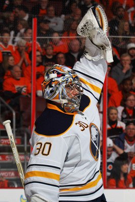 PHILADELPHIA, PA - APRIL 22:  Ryan Miller #30 of the Buffalo Sabres celebrates against the Philadelphia Flyers in the second period of Game Five of the Eastern Conference Quarterfinals during the 2011 NHL Stanley Cup Playoffs at Wells Fargo Center on Apri