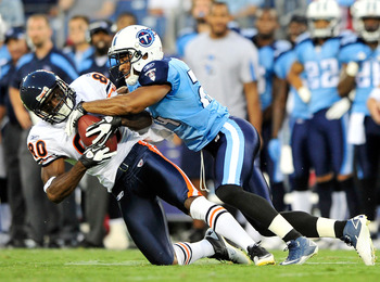 NASHVILLE, TN - AUGUST 27:  Chris Hope #24 of the Tennessee Titans tackles Earl Bennett #80 of the Chicago Bears during a preseason game at LP Field on August 27, 2011 in Nashville, Tennessee.  (Photo by Grant Halverson/Getty Images)
