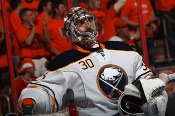 PHILADELPHIA, PA - APRIL 26:  Ryan Miller #30 of the Buffalo Sabres reacts during their game against the Philadelphia Flyers in Game Seven of the Eastern Conference Quarterfinals during the 2011 NHL Stanley Cup Playoffs at Wells Fargo Center on April 26,