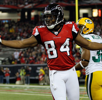 ATLANTA, GA - JANUARY 15:  Roddy White #84 of the Atlanta Falcons reacts after he thought he was interfered with on a play against the Green Bay Packers during their 2011 NFC divisional playoff game at Georgia Dome on January 15, 2011 in Atlanta, Georgia.