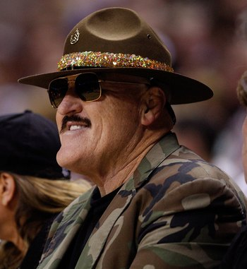 SAN ANTONIO - APRIL 23:  Professional wrestler Sgt. Slaughter attends Game Three of the Western Conference Quarterfinals during the 2010 NBA Playoffs at AT&T Center on April 23, 2010 in San Antonio, Texas. NOTE TO USER: User expressly acknowledges and agr