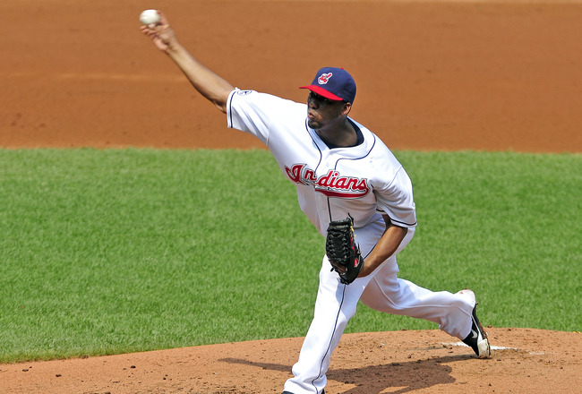 CLEVELAND, OH - SEPTEMBER 1: Starting pitcher Fausto Carmona #55 of the Cleveland Indians pitches during the second inning against the Oakland Athletics at Progressive Field on September 1, 2011 in Cleveland, Ohio. (Photo by Jason Miller/Getty Images)